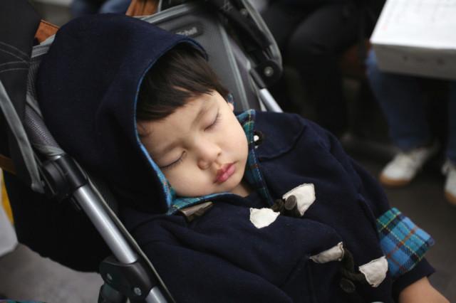 外出のストレスでかんしゃくを起こし疲れて寝る子供